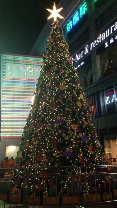 The Christmas trees outside the main malls in central Changsha